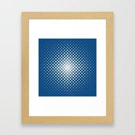 Classic Blue Square Droplet Pattern Framed Art Print
