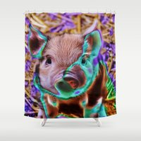 piglet Shower Curtains featuring Funky Piglet by MehrFarbeimLeben