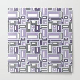 Simple Geometric Pattern in Purple and Gray Metal Print