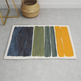 Minimalist Mid Century Color Block Color Field Rothko Navy Blue Olive Green Yellow Pattern by Ejaaz Haniff Rug