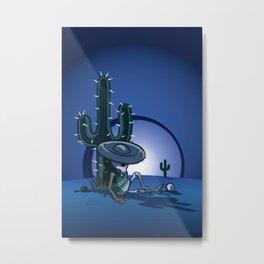 Cactus and skeleton at night Metal Print