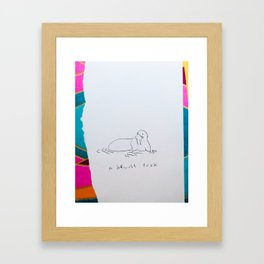 A difficult tusk - walrus drawing pun collage Framed Art Print