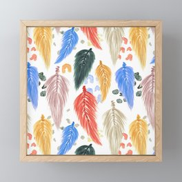 Watercolor Macrame Feathers + Dots in Earthtone Rainbow Framed Mini Art Print