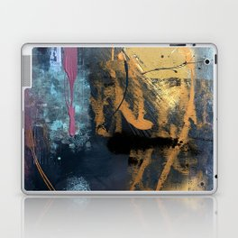 Melody: a vibrant, colorful abstract piece in blue, purple, gold, and black Laptop & iPad Skin