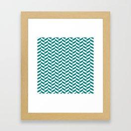 Teal Green Herringbone Pattern Framed Art Print