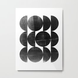 Black and White Mid Century Modern Op Art Metal Print