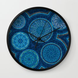 Dot Art Circles Abstract Blue with gold accent Wall Clock