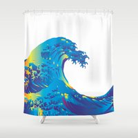 hokusai Shower Curtains featuring Hokusai Rainbow_B by FACTORIE