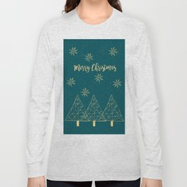 Merry Christmas Teal Gold Long Sleeve T-shirt