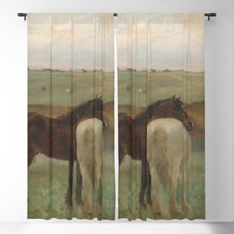 Horses in a Meadow Blackout Curtain