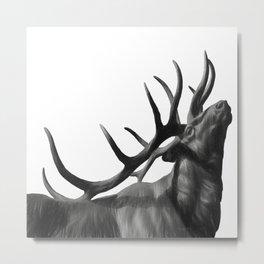 Elk in Black in White Metal Print