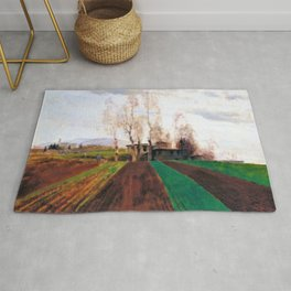 13,000px,500dpi-Arnold Bocklin - Plowed field in early spring - Digital Remastered Edition Rug