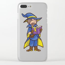 Cartoon Wizard Reading Book Clear iPhone Case