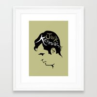 kerouac Framed Art Prints featuring Jack Kerouac by lucylovesthis