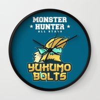 monster hunter Wall Clocks featuring Monster Hunter All Stars - The Yukumo Bolts by Bleached ink