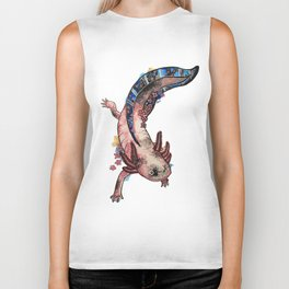 Cherry Blossom Axolotl Watercolor Artwork Biker Tank