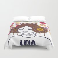 princess leia Duvet Covers featuring Princess Donut Leia by afrancesado