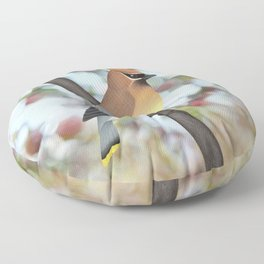 cedar waxwing - bokeh Floor Pillow