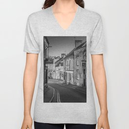 Winding Cotswold Town Road Black and White England Unisex V-Neck