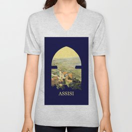 Vintage Litho Travel ad Assisi Italy Unisex V-Neck