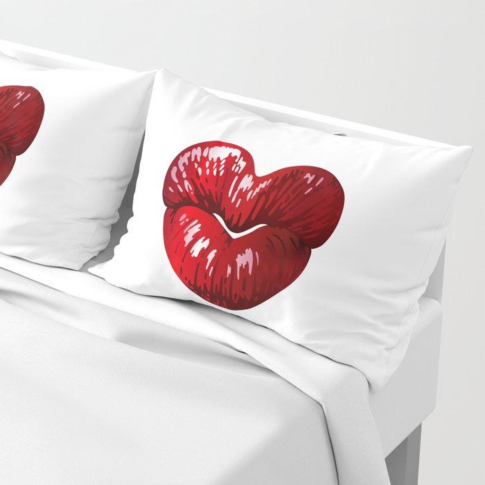 Heart Shaped Lips Pillow Sham