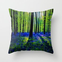 'Bluebells of the Rhode Island Spring' Landscape by Jeanpaul Ferro Throw Pillow