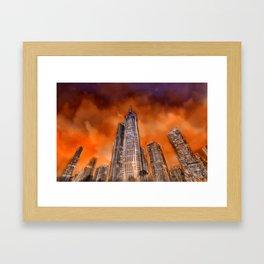 City in sunset Framed Art Print