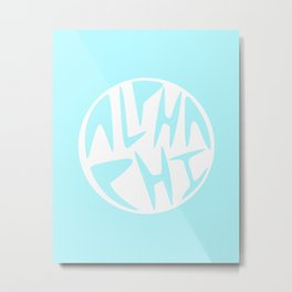 Aphi Blue and White Graphic Circle Metal Print