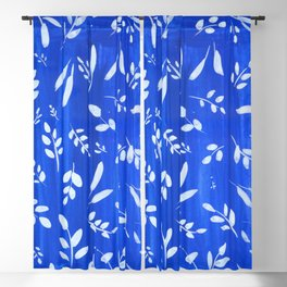 blue and white leaves Blackout Curtain