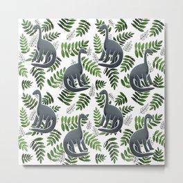 Modern Dinosaur Pattern - Green Metal Print