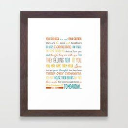 On Children: Kahlil Gibran Quote Typography Print Framed Art Print