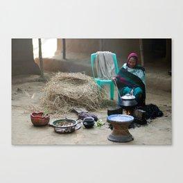 Cooking in a Garo village Canvas Print