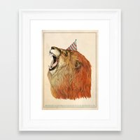 lion Framed Art Prints featuring Birthday Lion by Sandra Dieckmann