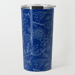 Floral blue   Nature pattern Travel Mug