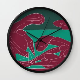 Picasso - On the beach (Bordeaux Green) Wall Clock