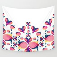tulip Wall Tapestries featuring Tulip Pattern by VessDSign