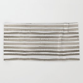 Simply Shibori Stripes Earth Brown on Lunar Gray Beach Towel