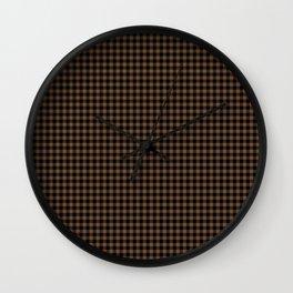 Mini Black and Brown Coffee Cowboy Buffalo Check Wall Clock