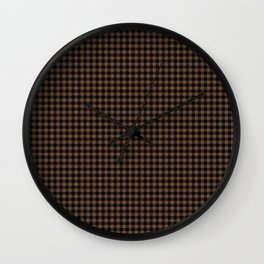 Mini Black and Brown Coffee Cowboy Buffalo Check Wall Clock