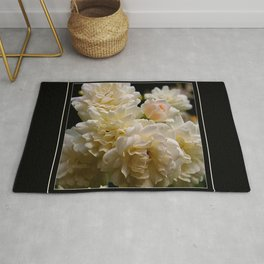 white roses and a light pink bud (square) Rug