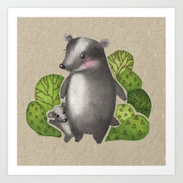 Watercolour Woodland Forest Badger and Baby Art Print
