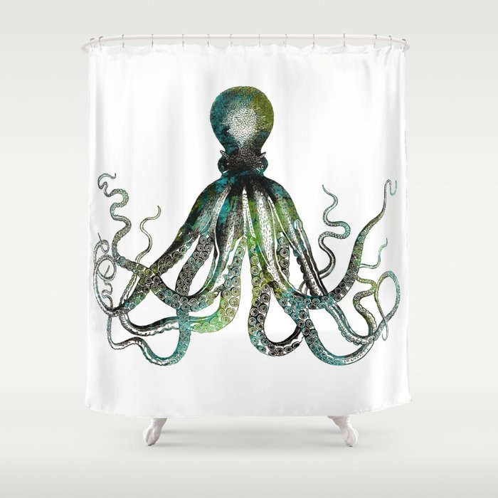 Octopus Marine Life Watercolor Art Shower Curtain By Lebensart