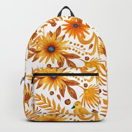 Sunshine yellow orange blue brown watercolor bird floral Backpack