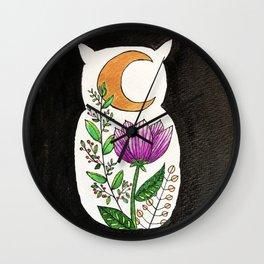 Moonflower Owl Wall Clock