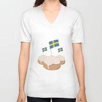 swedish V-neck T-shirts featuring Swedish Buns  by Salina Sees London