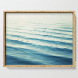 Ocean Waves Blue Photography, Aqua Water Sea Seascape Photo, Teal Beach Coastal Abstract Waves Serving Tray