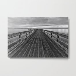 Bevan Fishing Pier - Black and White Metal Print