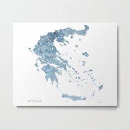 Greece watercolor map Metal Print