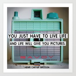 Cute Vintage Camera with Photography Quote Art Print