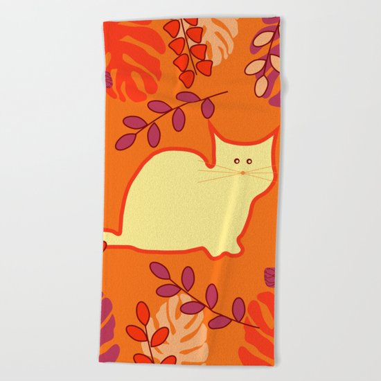 Curious cat, butterflies and leaves Beach Towel